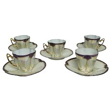 1900 - Set of 5 Art Nouveau Style Coffee Cups and Saucers in Fine Bone China Porcelain, German or Luxembourg Origin