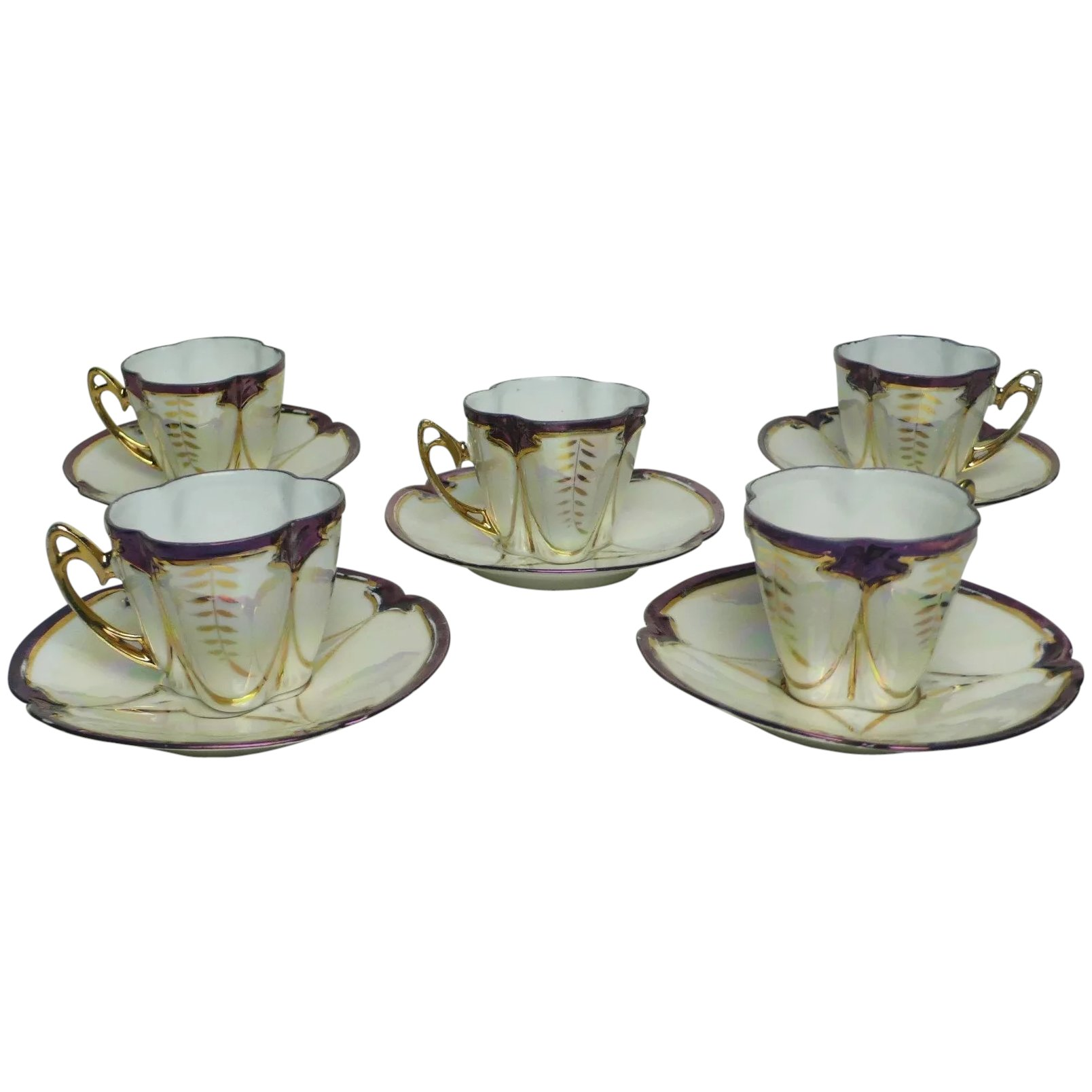 5 - Set of 5 Art Nouveau Style Coffee Cups and Saucers in Fine Bone  China Porcelain, German or Luxembourg Origin