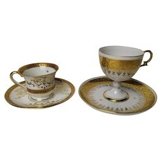Set of 2 Vintage French Limoges Manufacturer Golden Cups and Saucers, made from Fine Porcelain and Hand Gilted