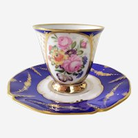 Vintage Floral Fine Porcelain Cup and Saucer, Hand Painted