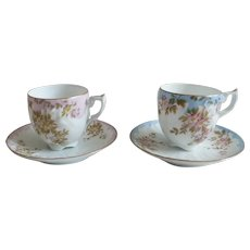 Set of 2 Vintage Coffee Cups and Saucers in French Fine Porcelain, Hand Painted with Floral Decor