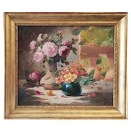 French Still Life Antique oil Painting of a Flower Bouquet, 19th Century Signed