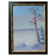 1919 Winter Landscape Swedish Painting, Original Forest Oil Painting of a Snowy Countryside Lake
