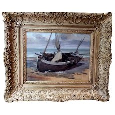 19th -  Seascape View of a Small Sail Boat on a Beach, French Antique oil painting