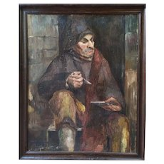 Mid century original oil paintng Fisherman by Belgian painter signed Spinnewyn