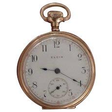 Lady's 14k Gold Antique Elgin Pocket Pendant  Watch in Deuber Case