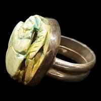 Vintage Egyptian Carved Stone Scarab Bead & Sterling Ring