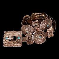 Vintage Native American Sterling/Leather Concho Belt