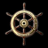 Vintage Wheeler Ship Yard Teak and Brass Helm's Wheel