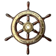 Vintage Wheeler Company Ship's Wooden and Brass Wheel; perfect man cave gift