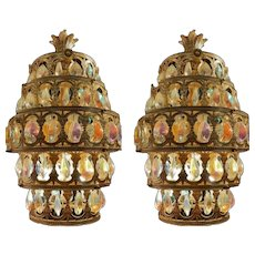 Pair Mid Century Swag Chandelier Lamps with Chrystals