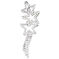 Vintage Pave Clear Rhinestone Star Pin with Light Trail
