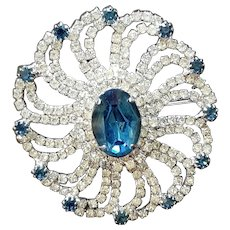 Vintage Oval Clear and Blue Rhinestone Brooch