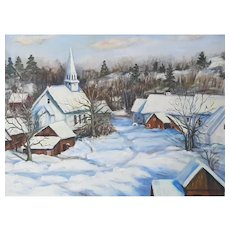 Vintage Vermont Snow Scene Oil Painting on Board by Edna Graham