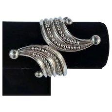 Vintage Taxco Designer Signed F. Ballardes Mexican Modernist Sterling Silver Hinge Bracelet