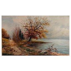 Early Twentieth Century Landscape Watercolor by M. L.  Kappes