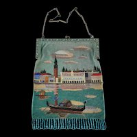 Vintage Micro Bead Venetian Scene Purse
