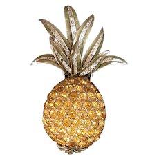 Vintage Rare Du Jay Pave Enamel and Citrine Pineapple Brooch Clip