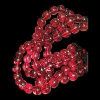Vintage Cherry Amber Bakelite Opera Length Beaded Necklace