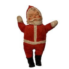 Vintage  1950's plush Santa with rubberized face