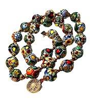 Vintage Murano Glass Millefiori Bead Necklace