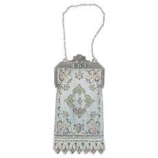 Vintage 1920's Mandalian Art Deco Flapper Era Enameled Mesh Purse Handbag