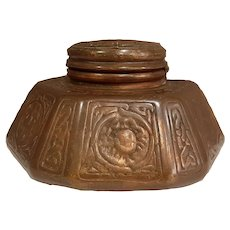 Antique Tiffany Bronze Zodiac Pattern Ink Well
