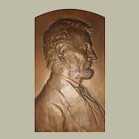 Antique Costanzo Luini Bronze Sculpture Bas-Relief Plaque Abraham Lincoln