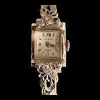 Vintage 14k White Gold Diamond Dobbs Mechanical Analogue Lady's Wristwatch