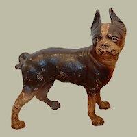 Antique Hubley cast iron, right looking Boston Terrier Dog Doorstop in Black & Brown