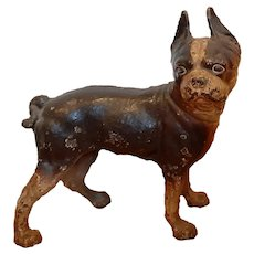 Antique Hubley cast iron, right looking Boston Terrier Dog Doorstop in Black & Brown