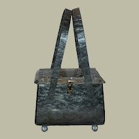 Vintage Mid Century Grey Marbled Lucite Purse Handbag with Clear Top