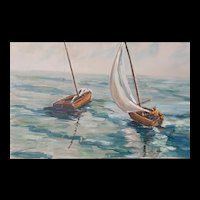 Early Twentieth Century Cape Cod Marine Nautical of Sailboats Oil Painting