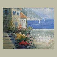 Impressionist Nautical Marine Oil Painting, Lake Como, Italy, sailboats