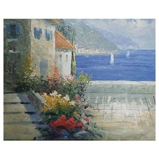 Impressionist Nautical Marine Oil Painting, Lake Como, Italy, sailboats