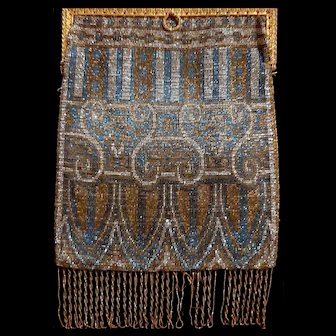 French Cut Steel Beaded Purse ca 1900 with beaded braided fringe made in Paris