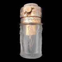 R Lalique Art Nouveau Nude Figural Frosted Art Glass Perfume Bottle Atomizer