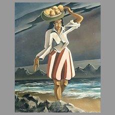 'Island Girl' oil painting by Edward G. Skrocki