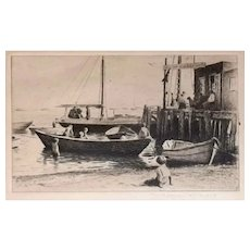 Etching, 'Boats to Let' by Morgan Dennis