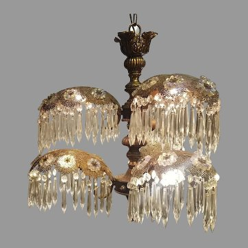Amazing Deco Style Palm Frond Brass and Chrystal Chandelier