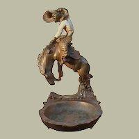 Rare Paul Herzel Pompeian Bronze Bucking Horse Sculpture Ash/Trinket Tray