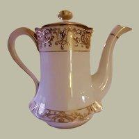 Antique Gold and White Noritake Porcelain Coffee Pot