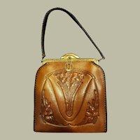 Art Nouveau Tooled Leather Bag Purse