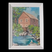 Vintage Framed Oil Painting on Art Board Vermont Old Mill