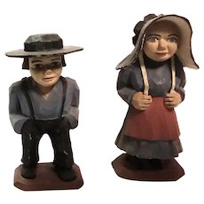 Important Pennsylvania Jailhouse Wood Carving Amish Couple Wood Carved Sculpture