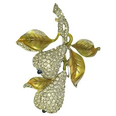 Rare Du Jay Pave Rhinestone Double  Pear Brooch with Gold Color Metallic Leaves