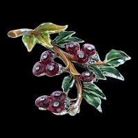 Rare Early Du Jay Enameled Red Crystal Berry, Rhinestone Brooch