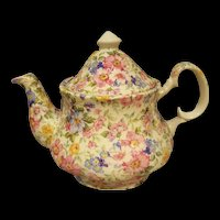 Vintage English Porcelain Laura Teapot Chintz Pattern, Made in Staffordshire