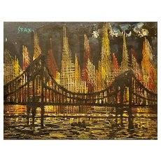 Brooklyn Bridge at Night, oil painting by Dominique SFax