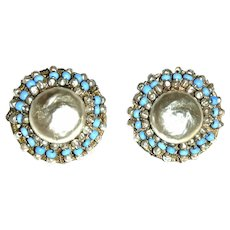 Miriam Haskell signed Baroque Niki Pearl Button Clip Earrings